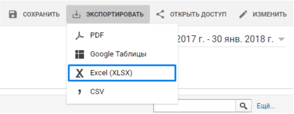 Выгрузка специального отчета из Google Analytics